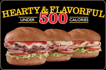 Under 500 Calories Menu